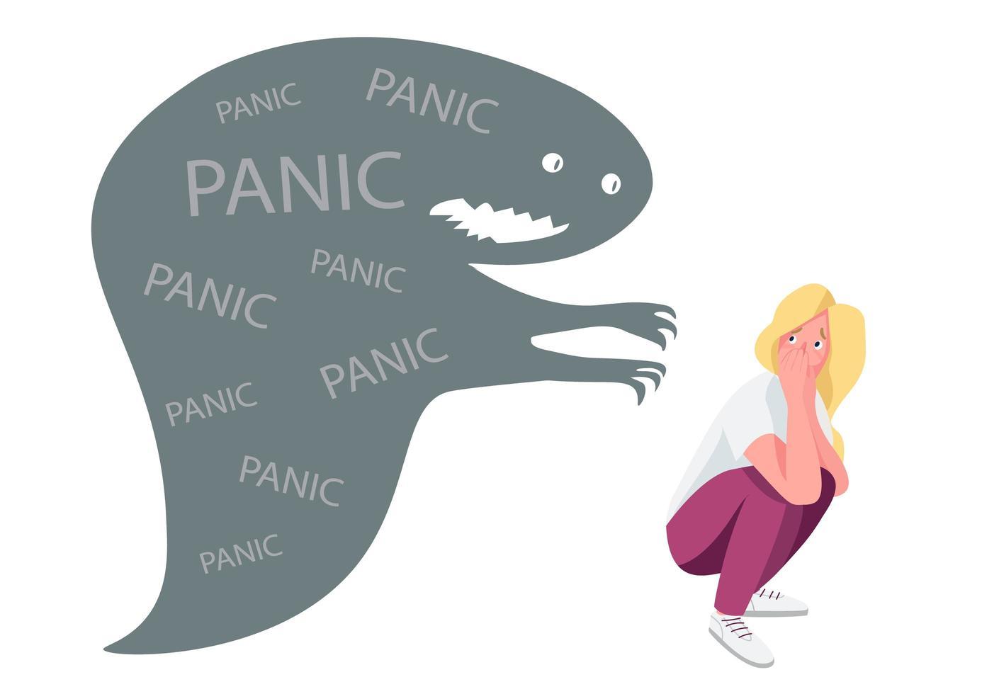 femme avec attaque de panique vecteur