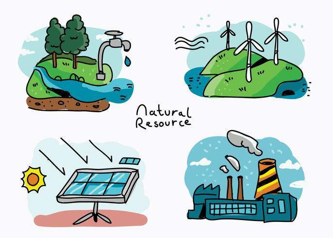 Illustration vectorielle de ressources naturelles dessinés à la main vecteur