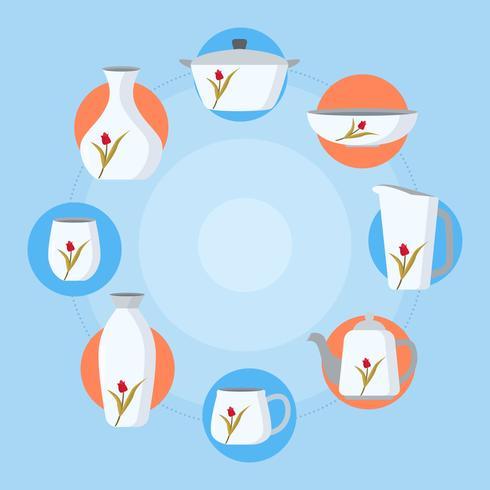 Ensemble de vaisselle plat Vector Illustration
