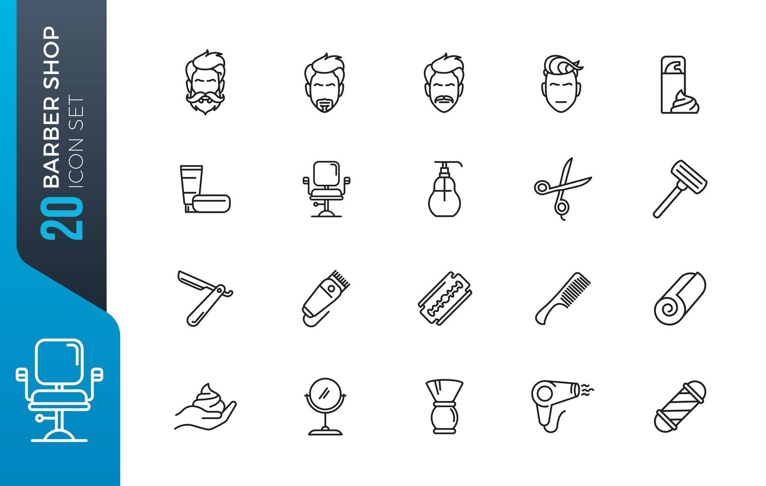 jeu d'icônes de salon de coiffure vecteur