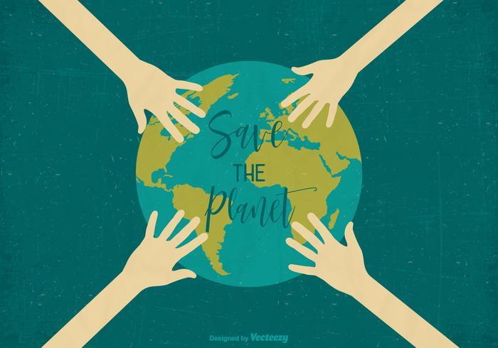 Sauver la planète Retro Vector Earth Day Poster