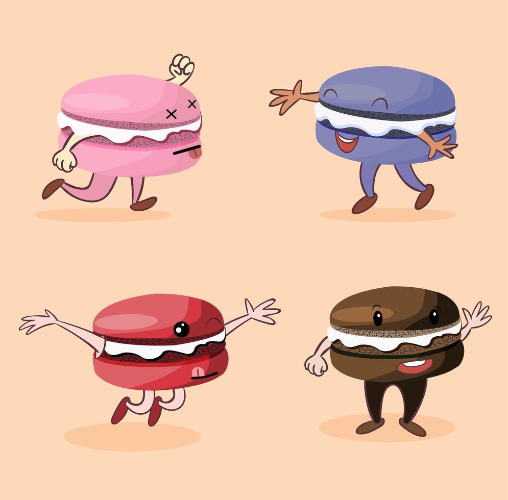 collection de personnages drôles de macaron vecteur