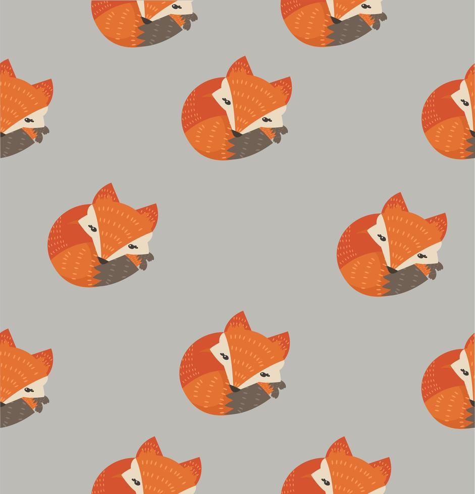 modèle sans couture de mignon renard endormi vecteur