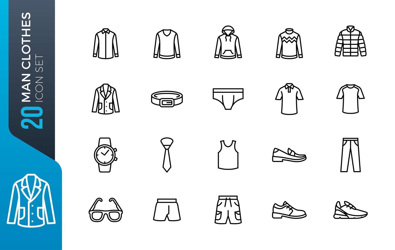 jeu d'icônes de vêtements minimaux vecteur