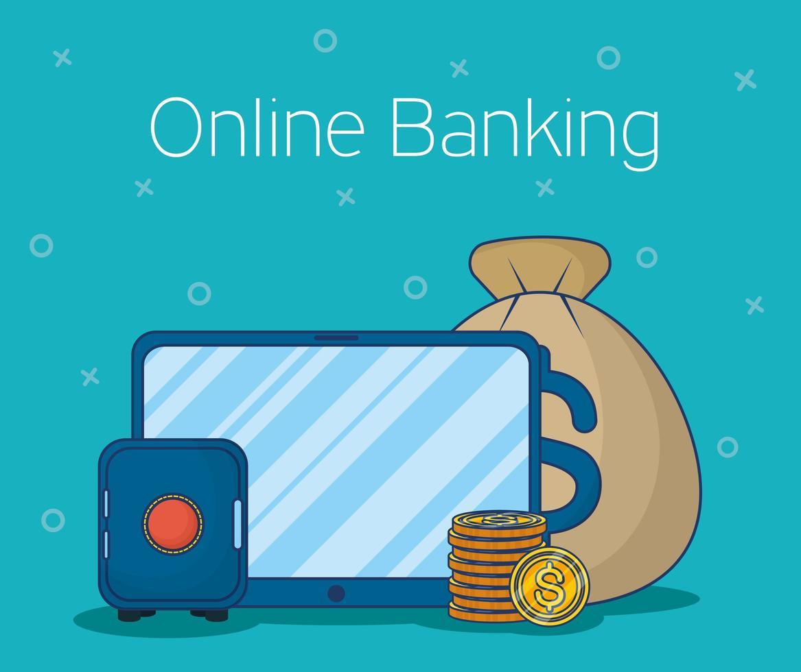technologie bancaire en ligne avec tablette vecteur