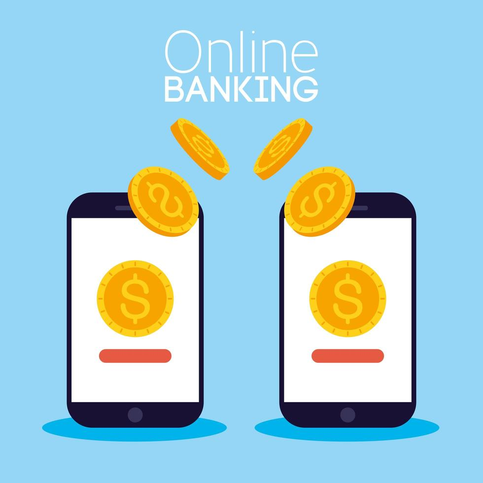 technologie bancaire en ligne avec smartphones de bureau vecteur