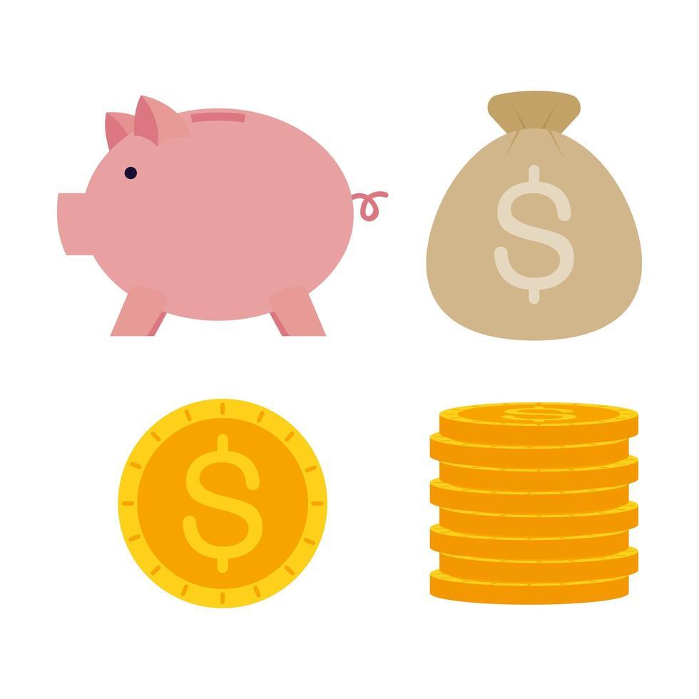 jeu d'icônes argent et finances vecteur