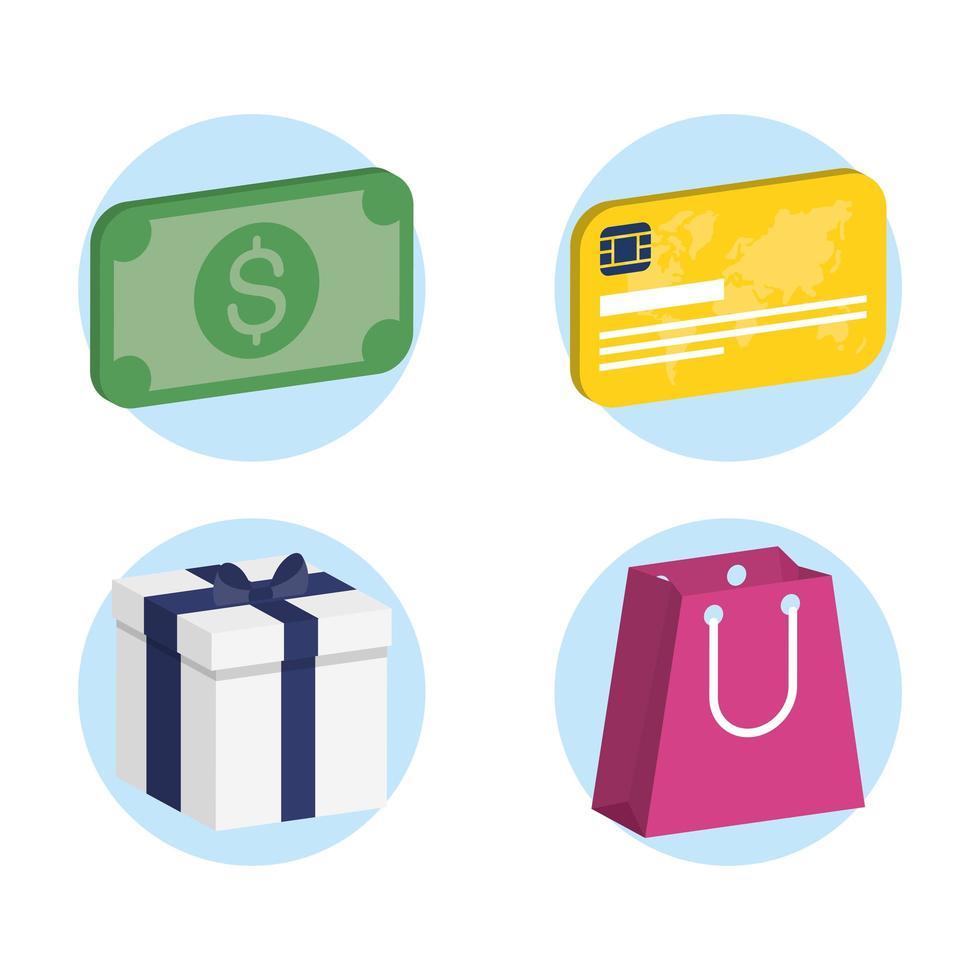 jeu d'icônes isométrique shopping et commerce vecteur