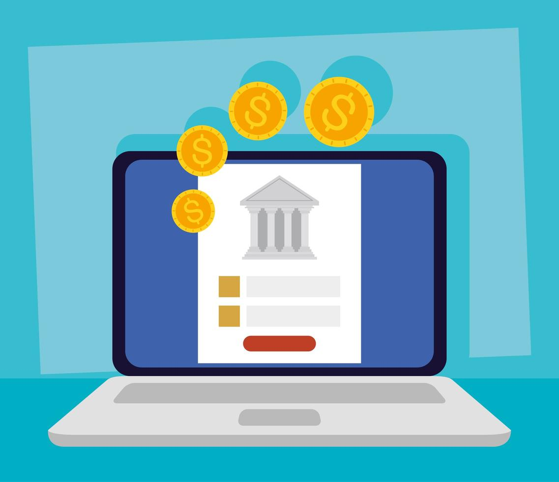 technologie bancaire en ligne avec ordinateur portable vecteur