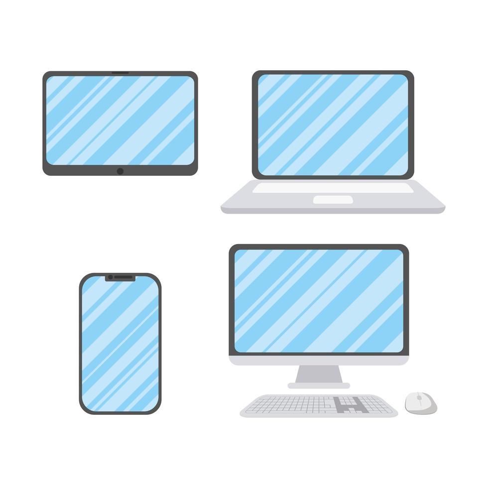 jeu d'icônes d'appareils électroniques vecteur