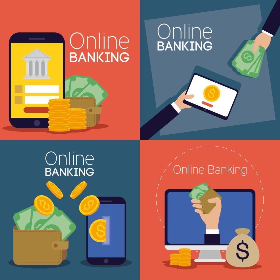 technologie bancaire en ligne avec appareils électroniques vecteur