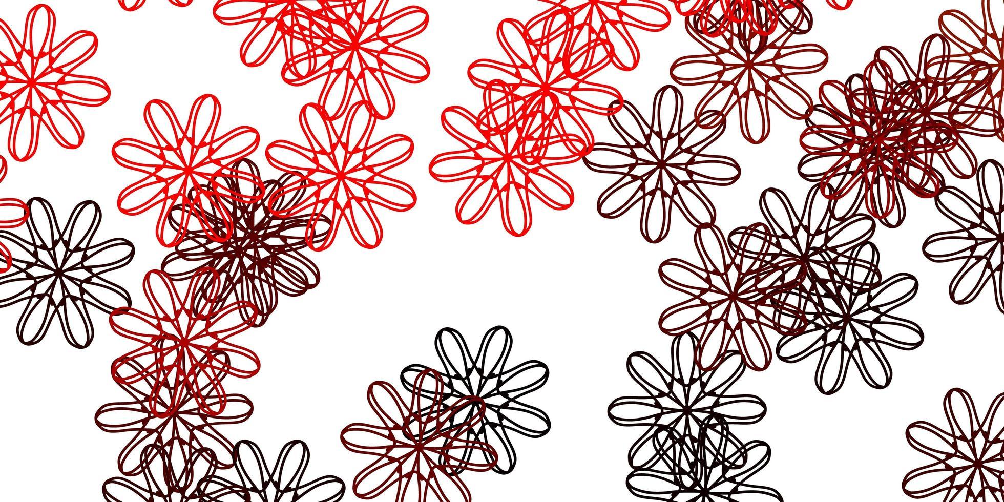 motif de griffonnage rouge avec des fleurs. vecteur