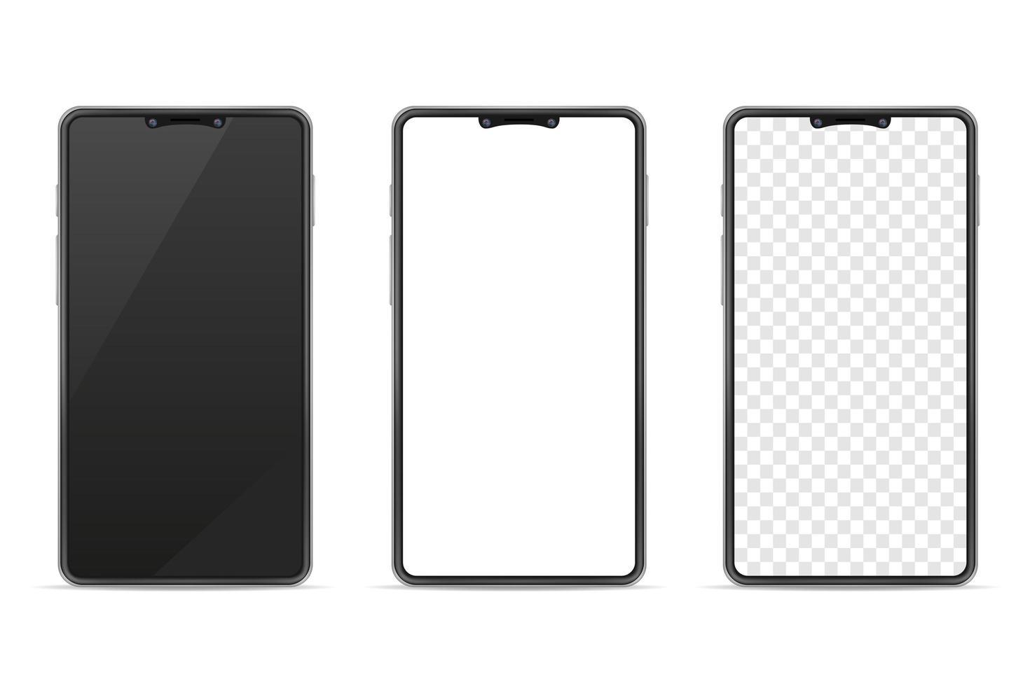 smartphone réaliste vierge maquette ensemble de téléphone mobile vecteur