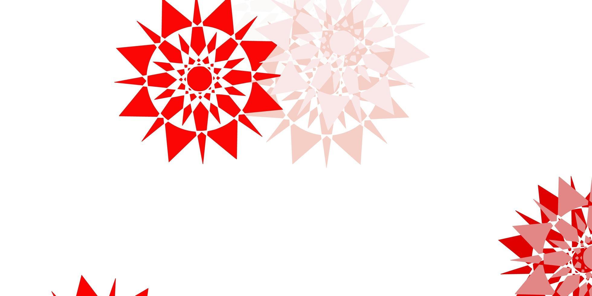 motif rouge clair avec des flocons de neige colorés. vecteur