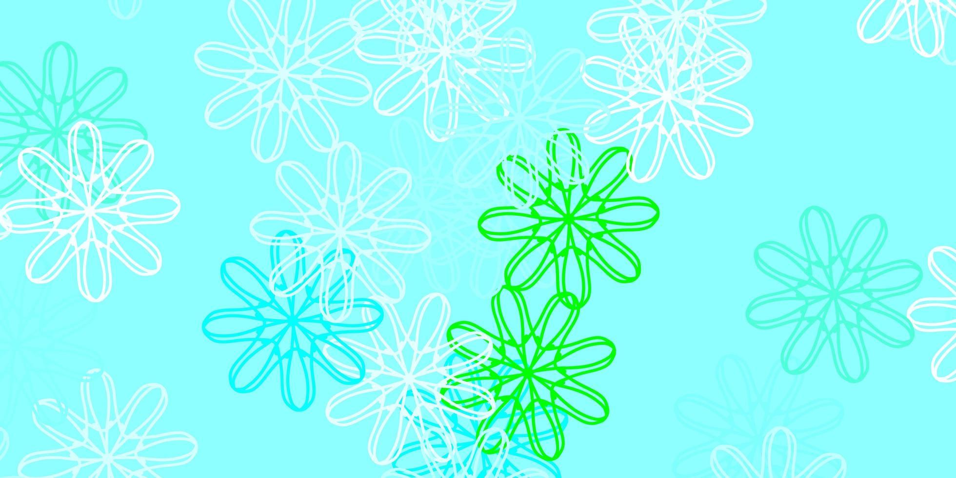 oeuvre naturelle bleu clair et verte avec des fleurs. vecteur