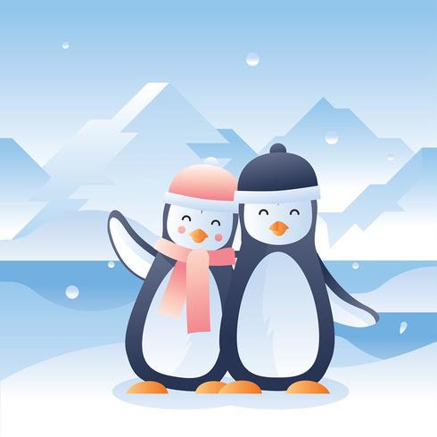 Vecteur de pingouins en amour