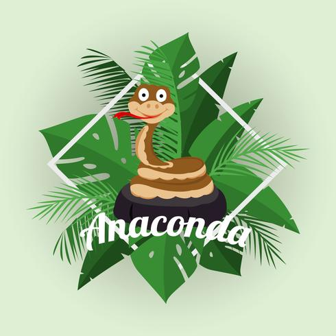 Illustration de Anaconda de dessin animé vecteur
