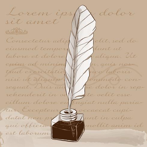 Encre et vieille illustration de stylo à encre vecteur