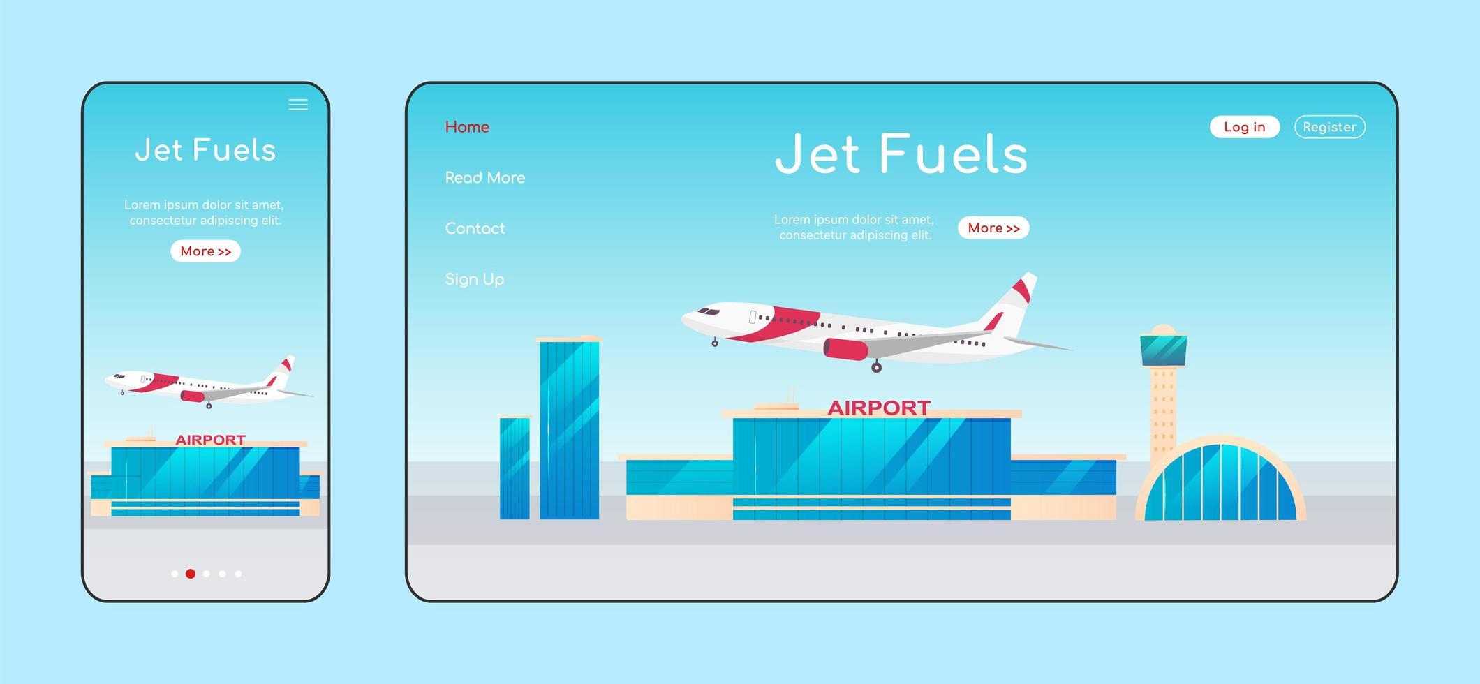 page de destination adaptative des carburants à réaction vecteur