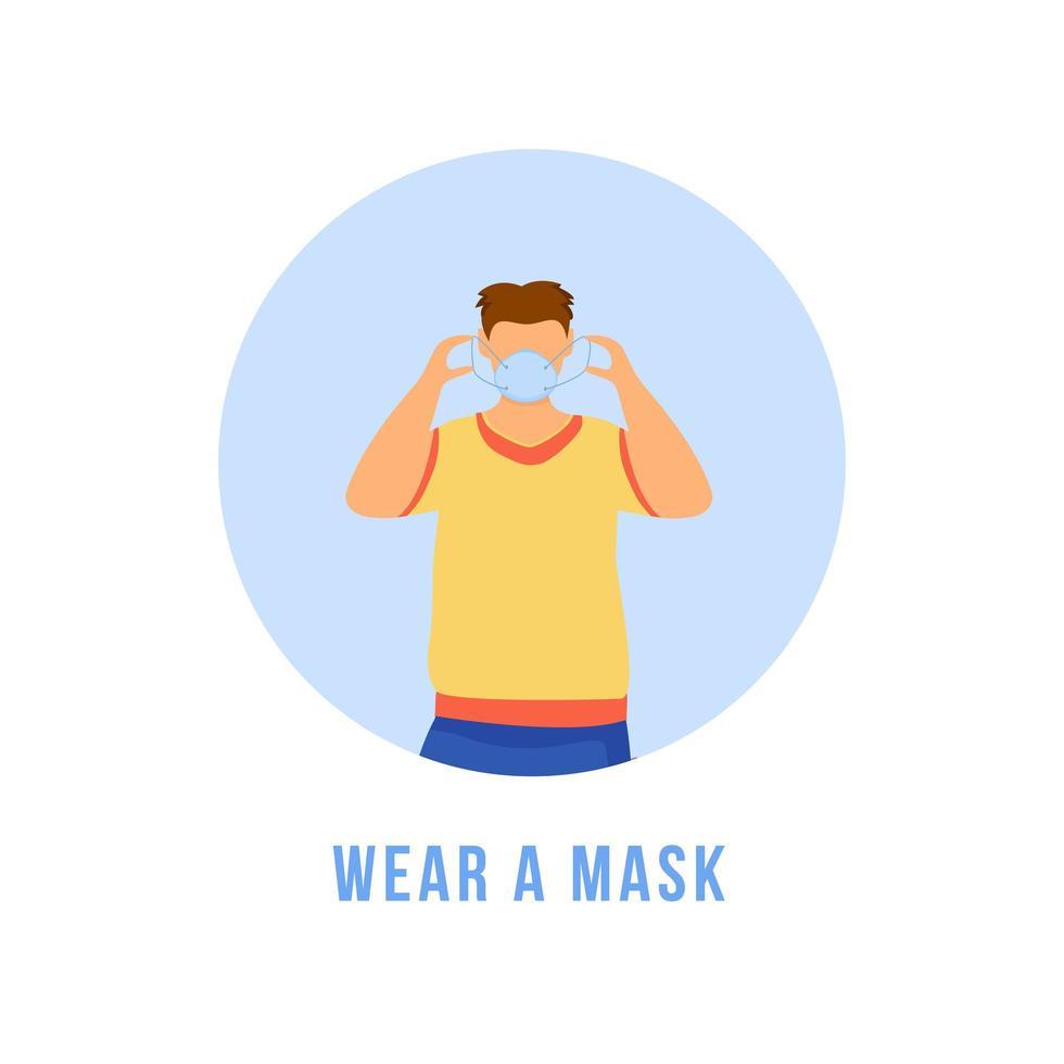 porter un masque vecteur