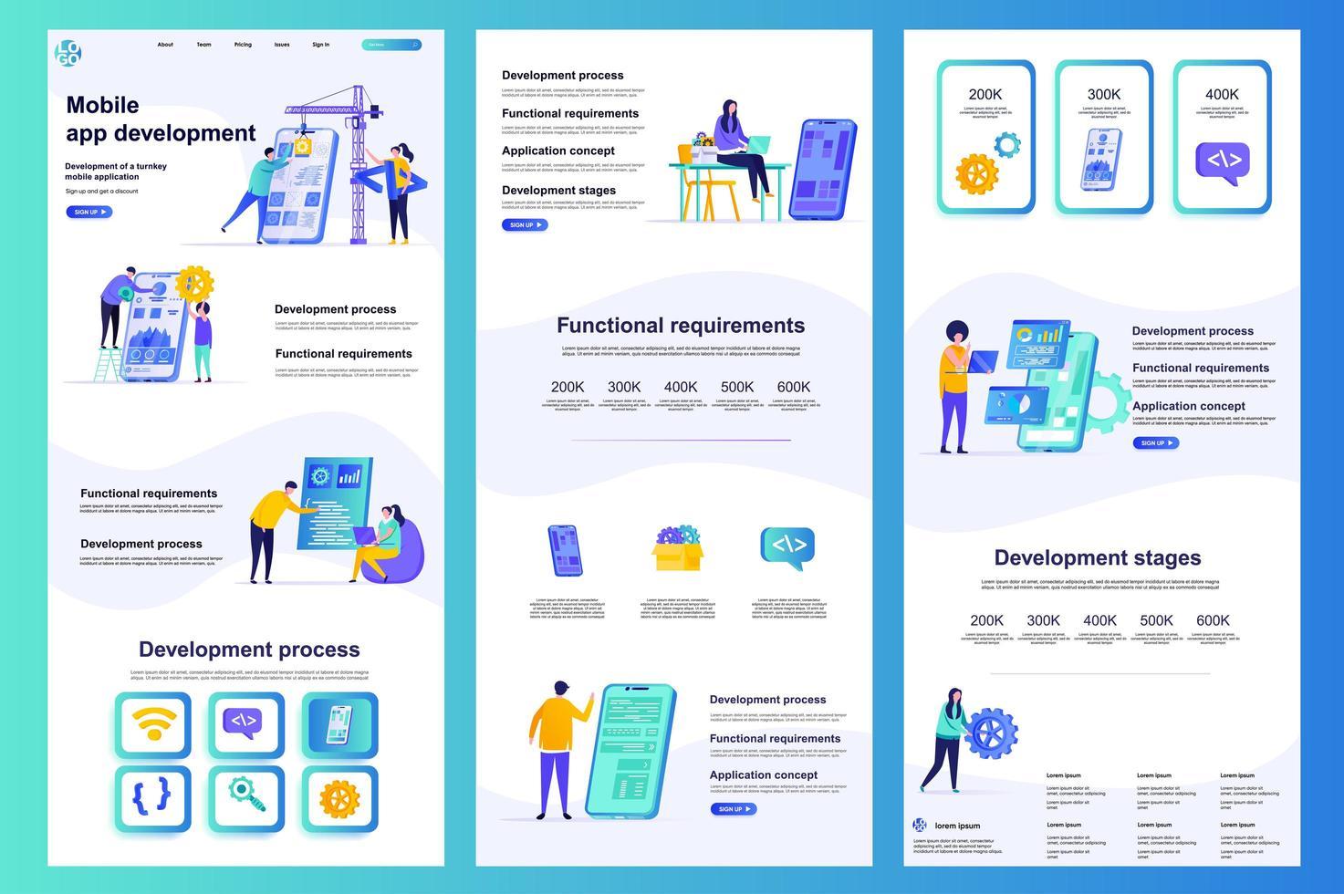 page de destination plate de développement d'applications mobiles. vecteur