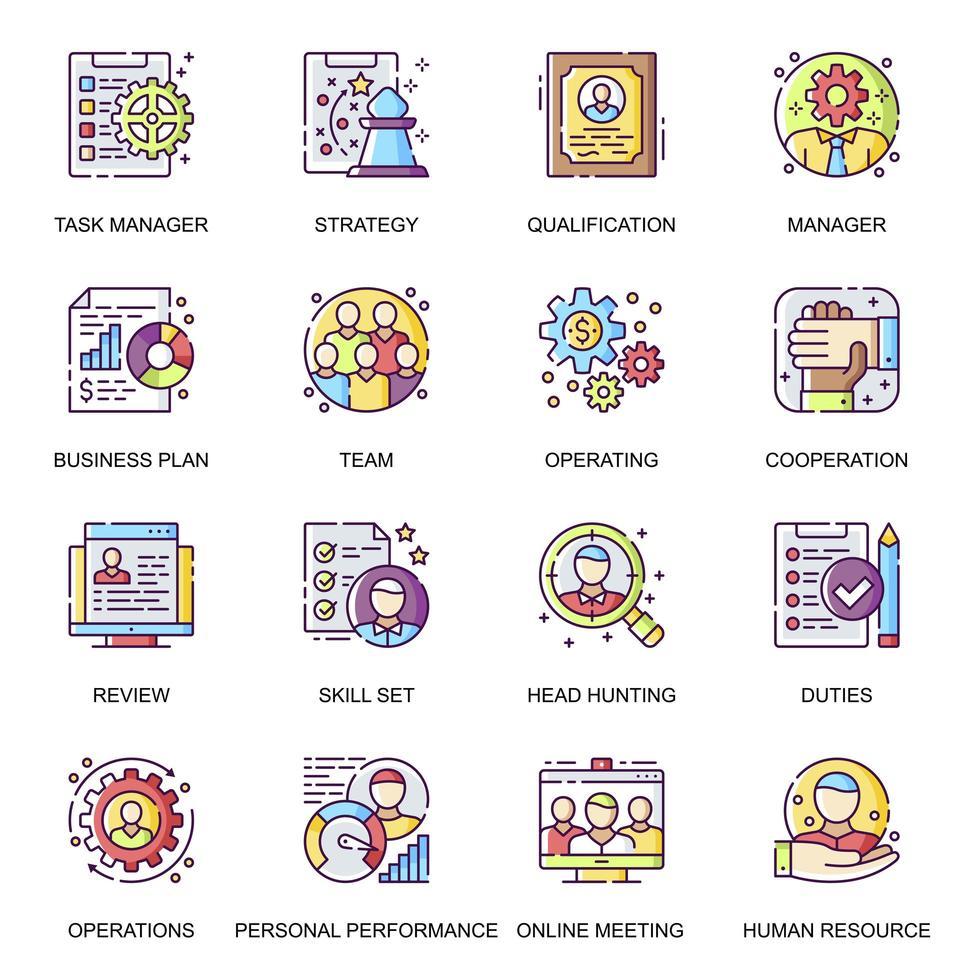 ensemble d'icônes plat de gestion des personnes. vecteur