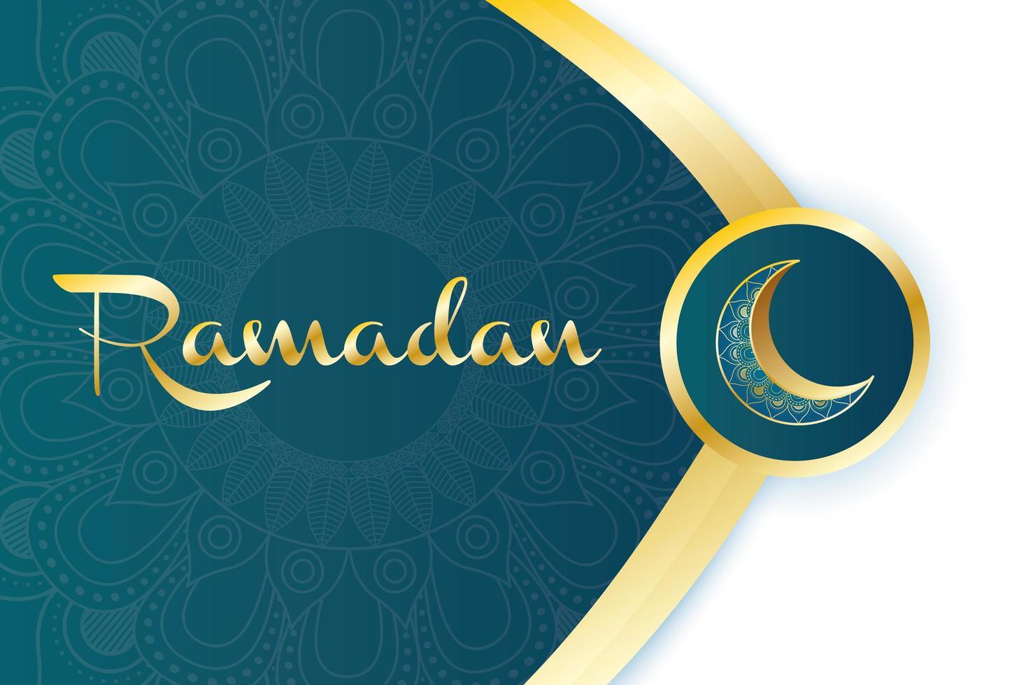 bannière de célébration du ramadan avec lune d'or vecteur