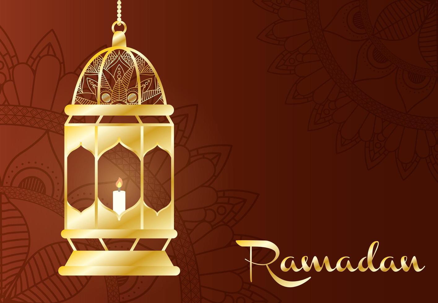bannière de célébration du ramadan avec lampe en or vecteur