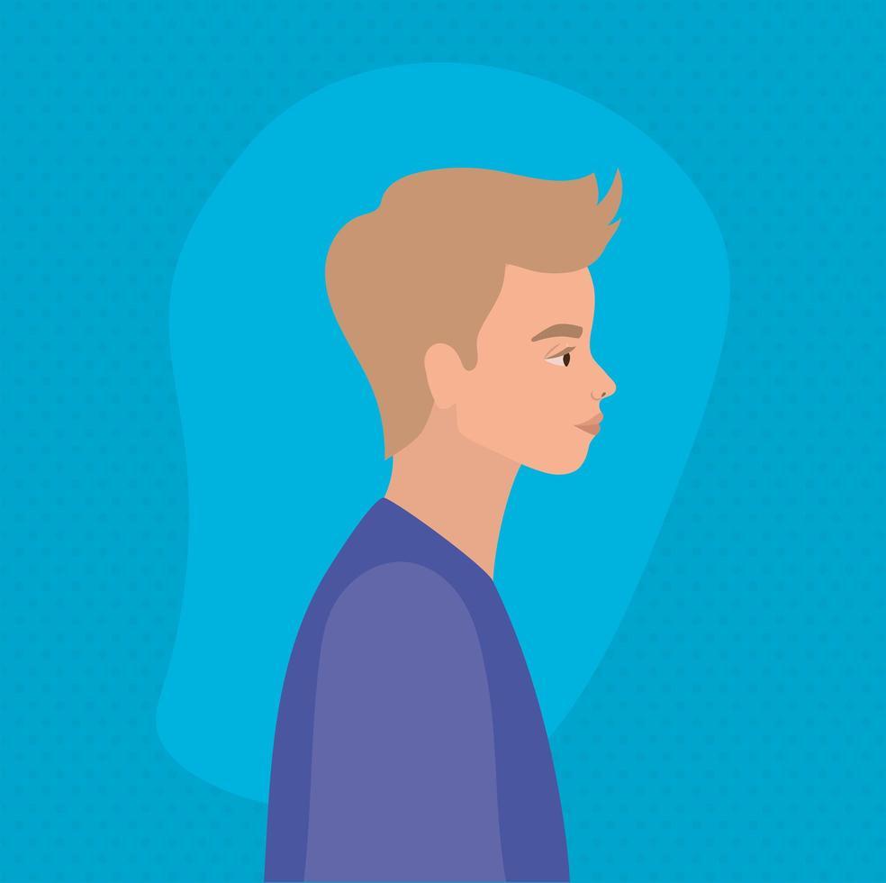 homme blond, dessin animé, dans, vue côté, conception vecteur