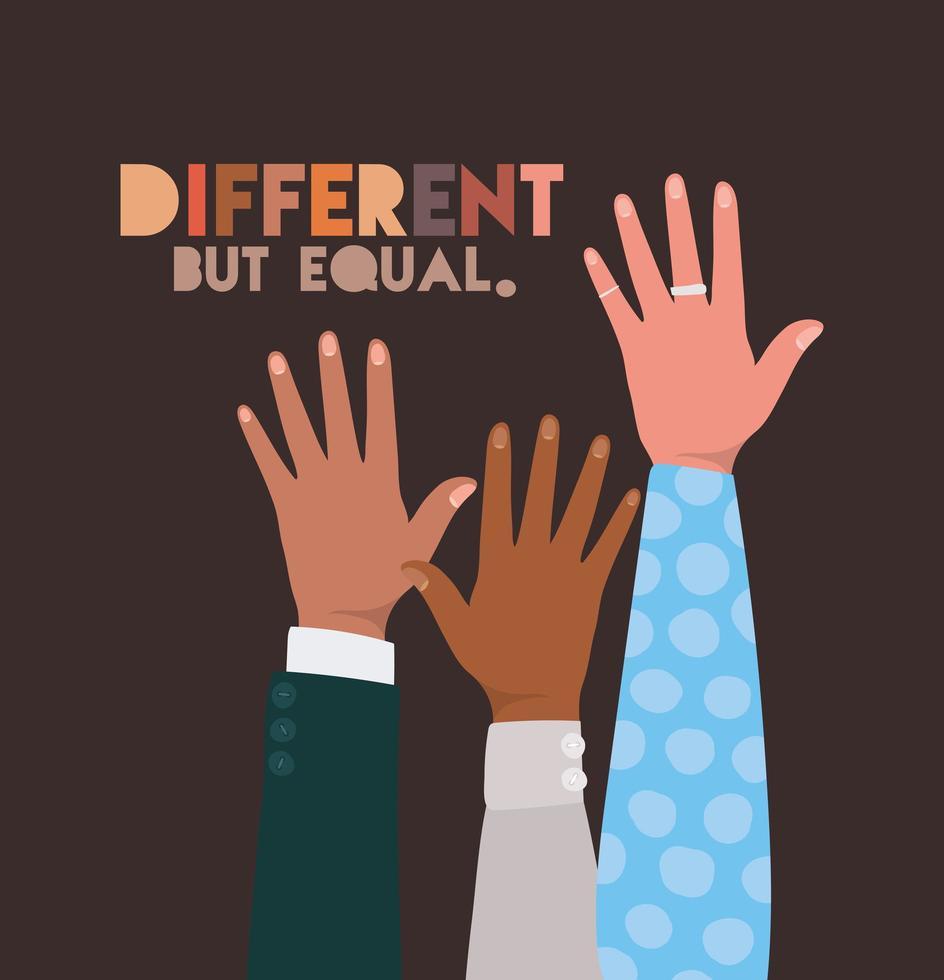 conception de mains de peau différente mais égale et diversité vecteur