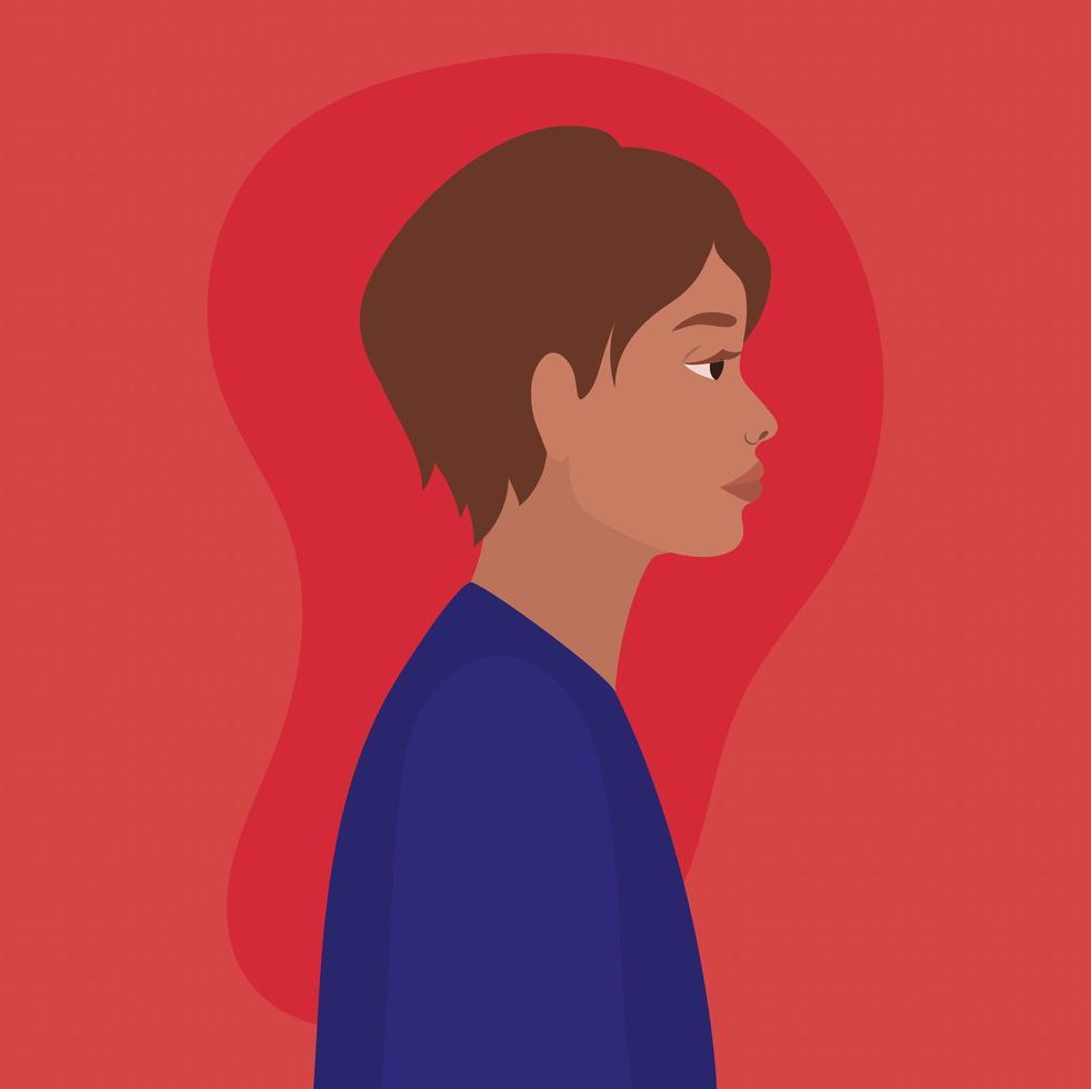 dessin animé homme cheveux bruns dans la conception de vue latérale vecteur