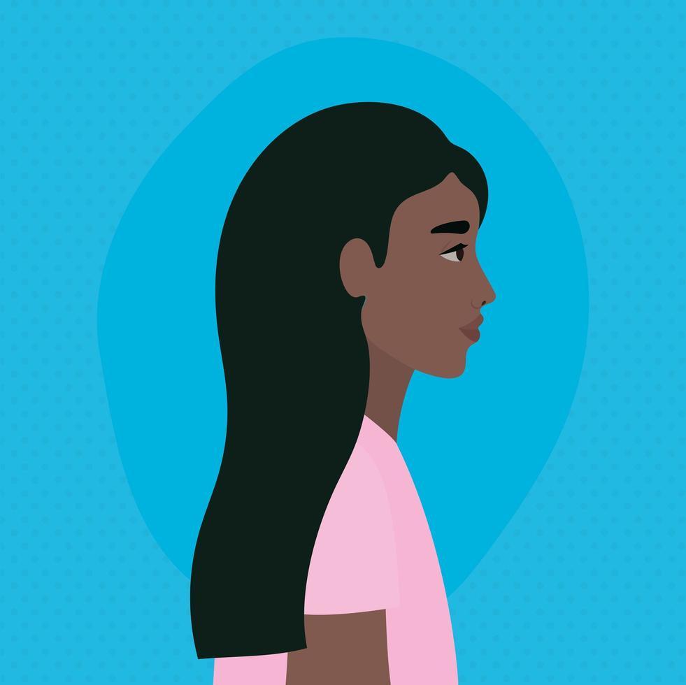 dessin animé femme noire dans la conception de la vue latérale vecteur