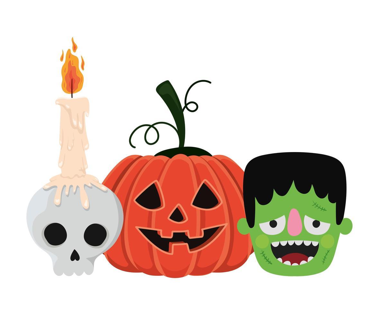 crâne de citrouille d'halloween et conception de dessins animés de frankenstein vecteur