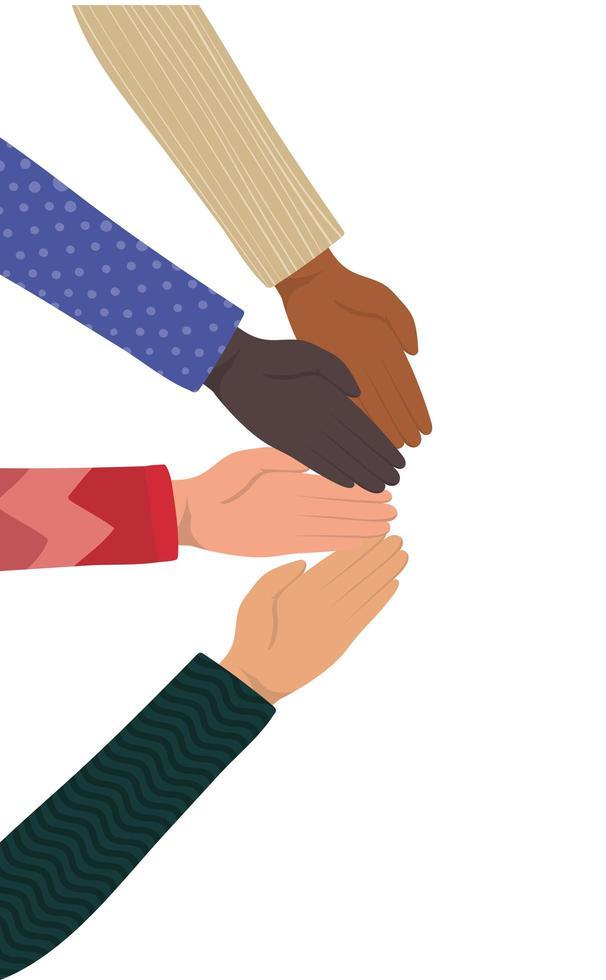 mains ouvertes de différents types de conception de peaux vecteur