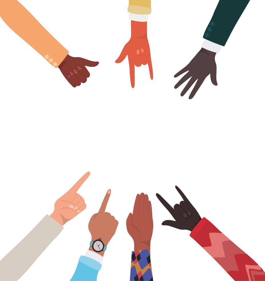 mains avec numéro un comme et signe de roche vecteur