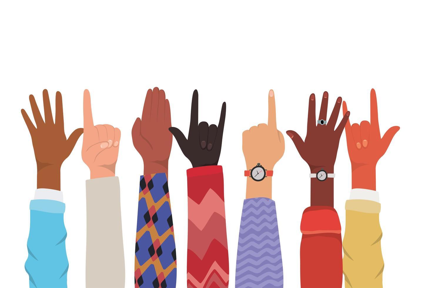 mains avec numéro un et signe rock vecteur