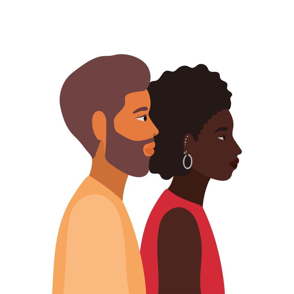femme noire et homme dessin animé en vue de côté vecteur