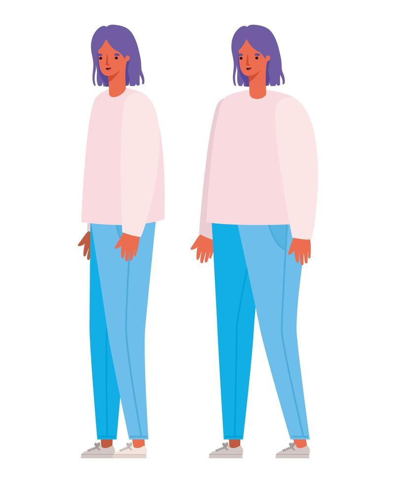 conception de dessin animé avatars femmes vecteur