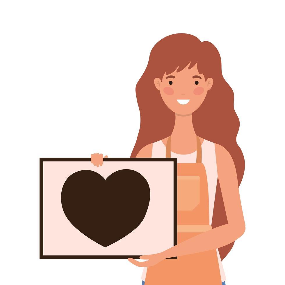 caricature de vendeuse avec tablier et bannière avec coeur vecteur