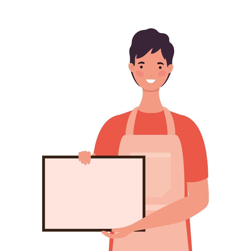 dessin animé de vendeur avec tablier et bannière vecteur