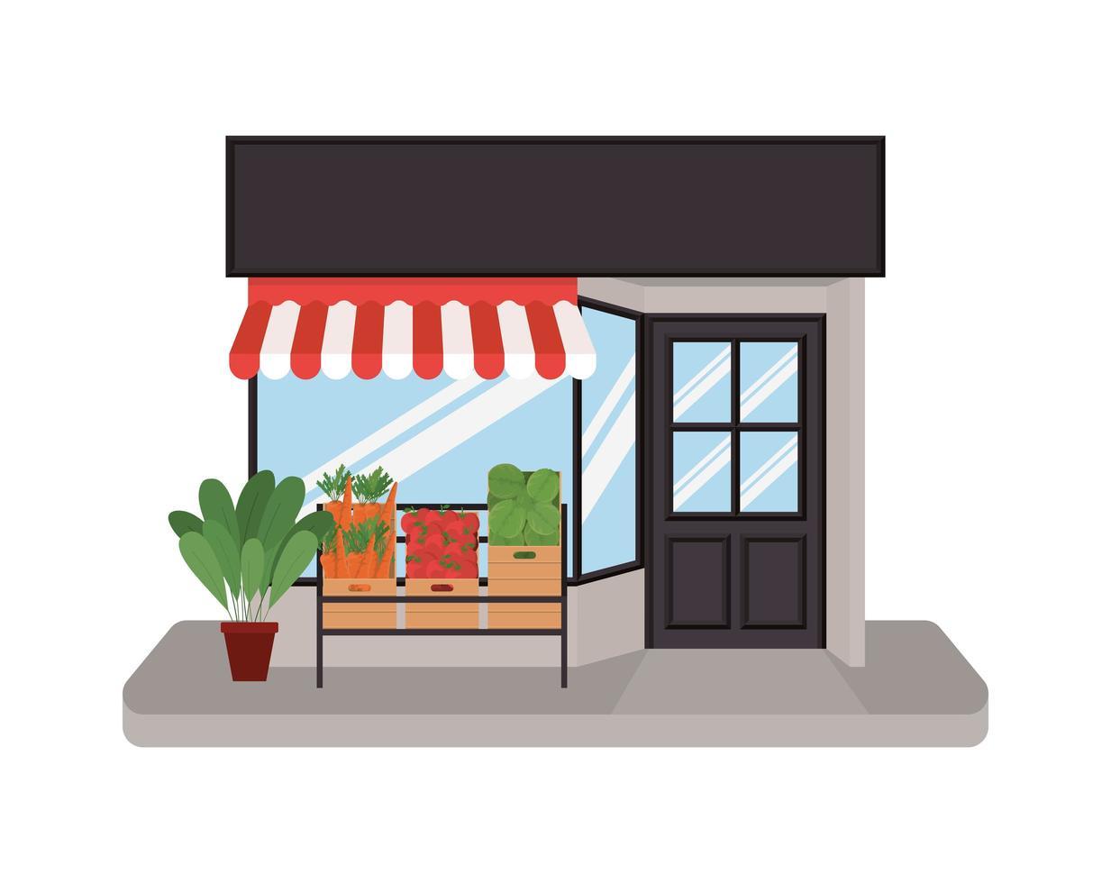 magasin avec tente et légumes dans des boîtes vecteur