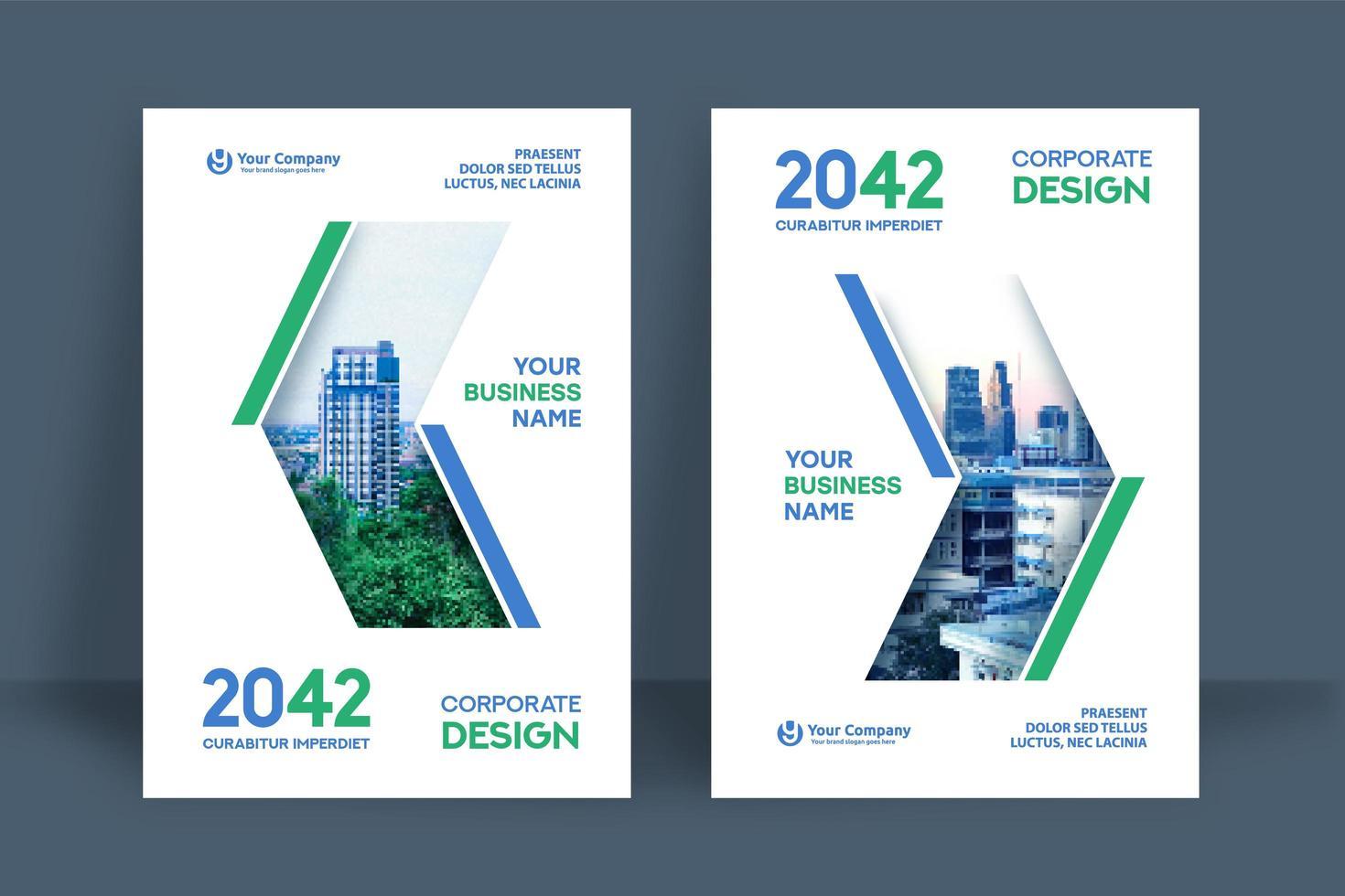 modèle de conception de couverture de livre entreprise fond ville vecteur