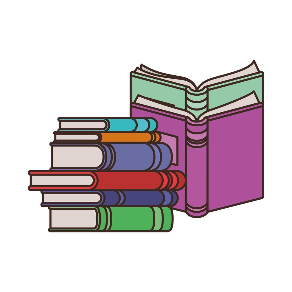 pile de livres sur fond blanc vecteur