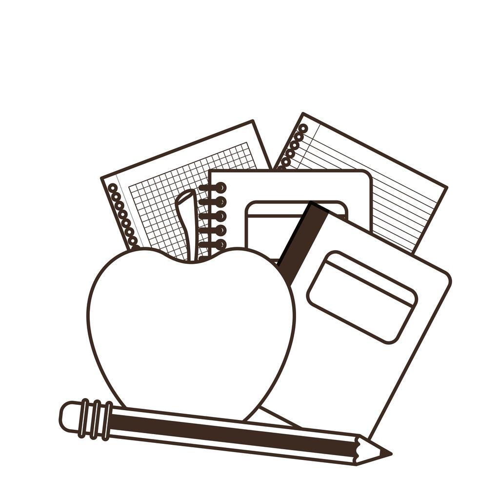 pile de livres avec pomme vecteur