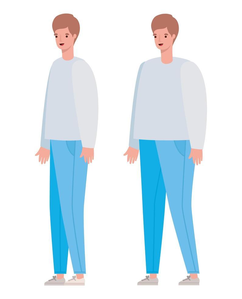 conception de dessin animé avatar hommes vecteur