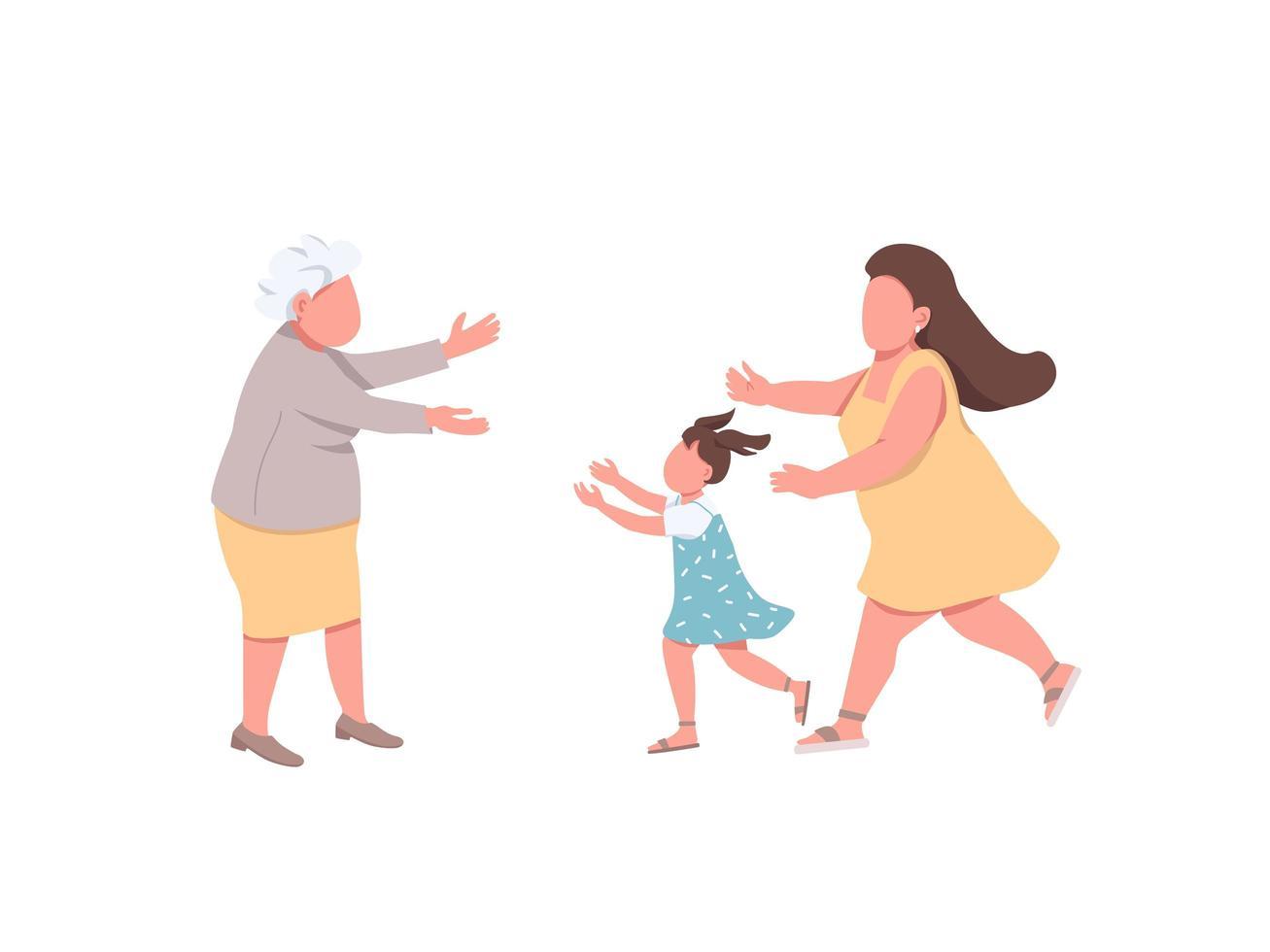 grand-mère accueille les parents vecteur