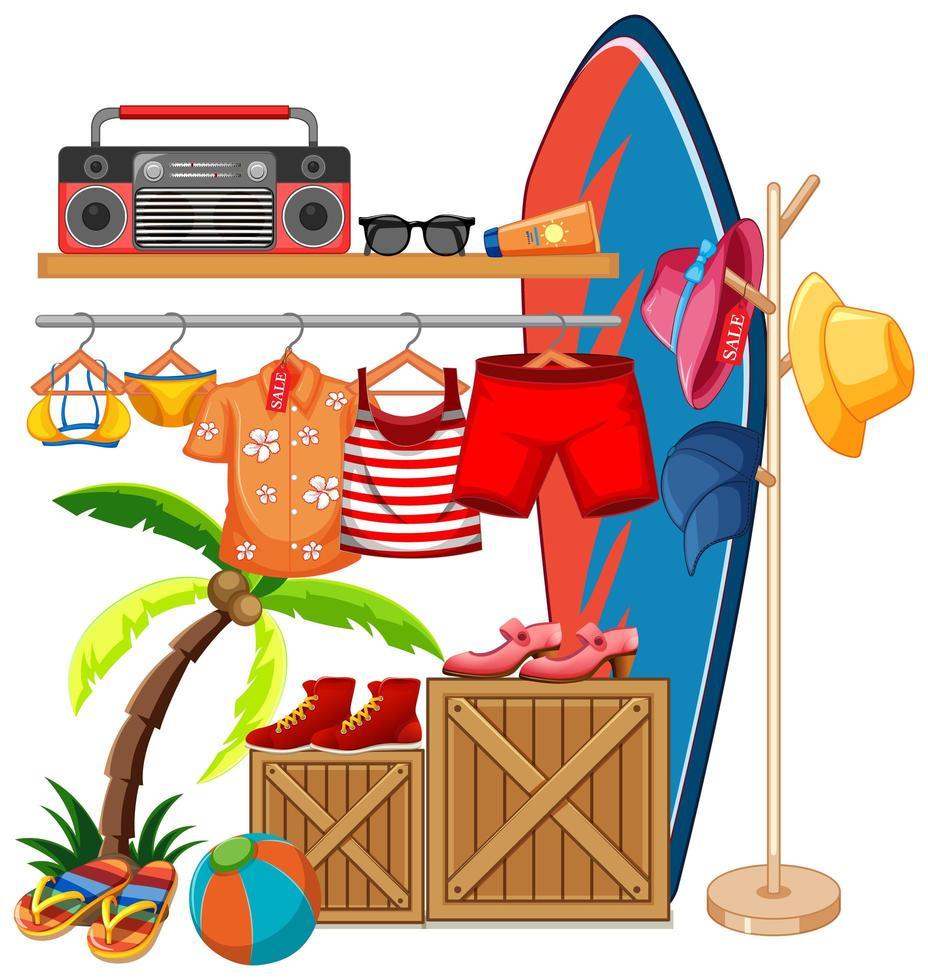 vêtements isolés sur le thème de l'été d'affichage de rack vecteur