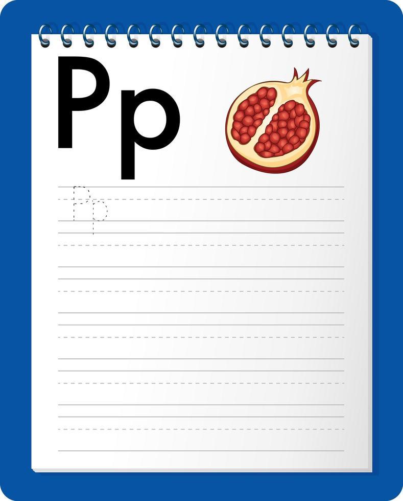 feuille de calcul de traçage alphabet avec lettre p et p vecteur
