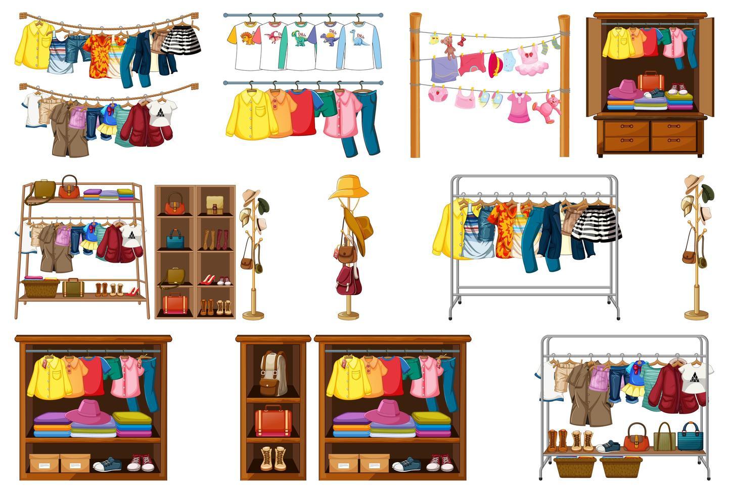 ensemble de vêtements, accessoires et armoire isolé sur fond blanc vecteur