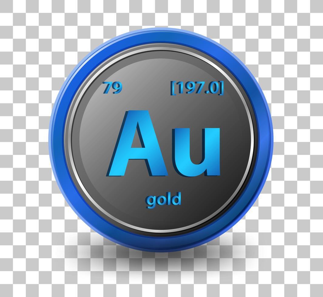élément chimique en or. symbole chimique avec numéro atomique et masse atomique. vecteur